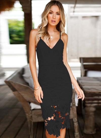 V Neck Sleeveless Lace Slit Bodycon Dress