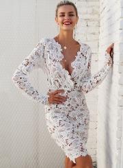 Fashion V Neck Long Sleeve Lace Bodycon Midi Dress