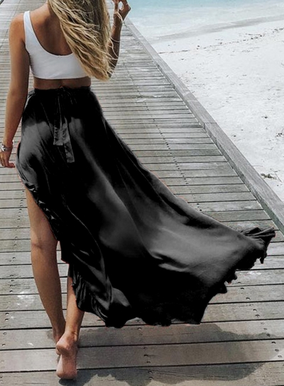 Fashion Elastic Waist High Slit Ruffle Maxi Skirt