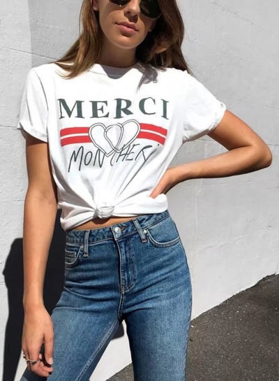 Casual Round Neck Letter Printed Short Sleeve Tee