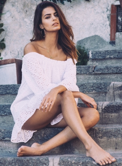 Off Shoulder 3/4 Sleeve Hollow out Dress