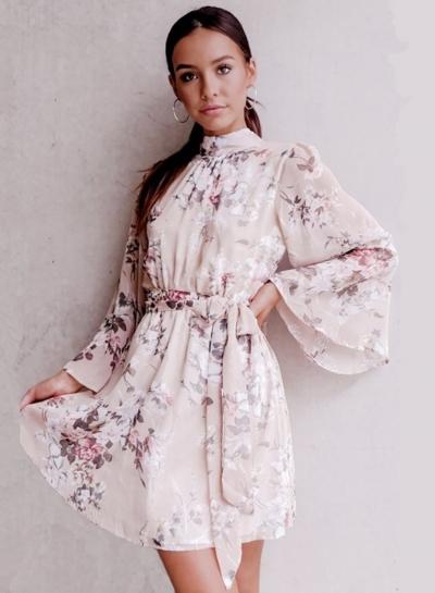 Mock Neck Long Sleeve Backless Tie Waist Floral Dress