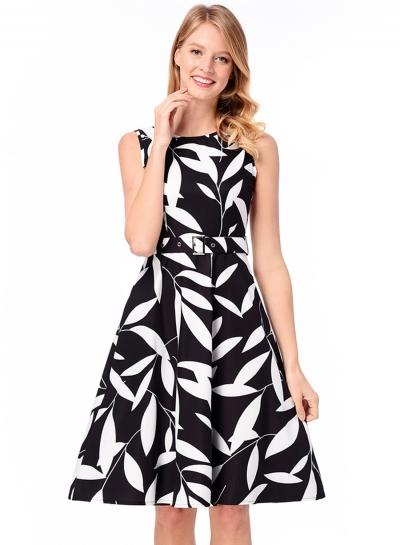 Vintage Sleeveless Leaf Printed A-line Dress