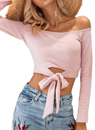 Off Shoulder Long Sleeve Knot front Tee