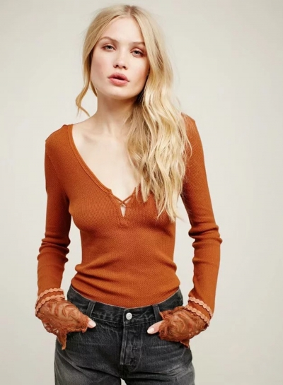 V Neck Long Sleeve Backless Slim Fit Lace Tee