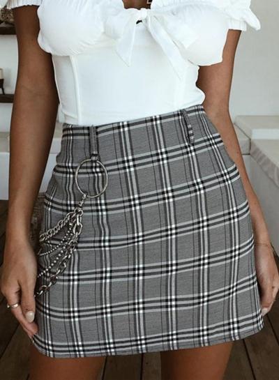 High Waist Plaid Bodycon Mini Skirt