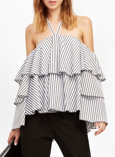 Stripe Halter Off Shoulder Long Sleeve Ruffle Blouse