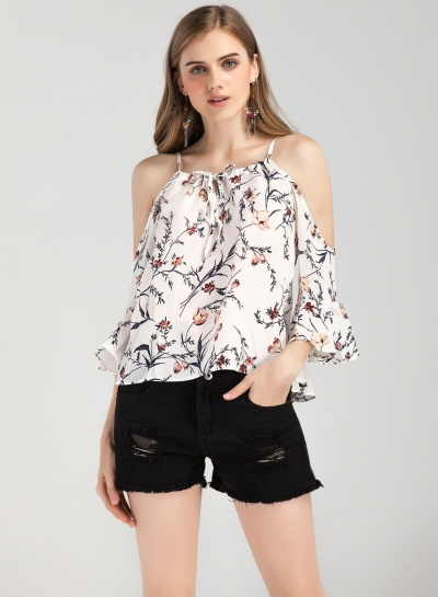 Fashion Off Shoulder Flare Sleeve Floral Chiffon Blouse