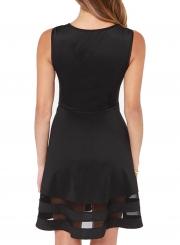 Fashion Sleeveless Mesh Splicing A-line Dress