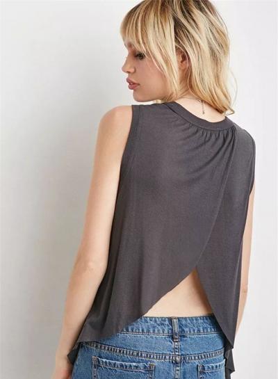 Fashion Sleeveless Irregular Solid Tee stylesimo.com
