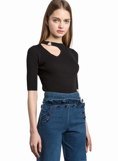 Half Sleeve Hollow out Slim Fit Tee