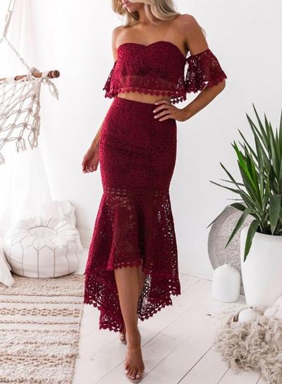 Women's Fashion Crop Top Lace 2 Piece Mermaid Skirt Set Dress Outfit