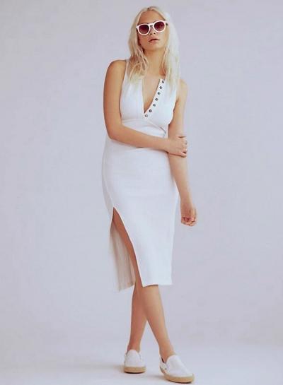 Fashion V Neck Sleeveless Slit Slim Dress