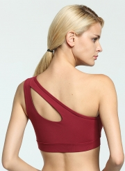 One Shoulder Hollow out Yoga Bra