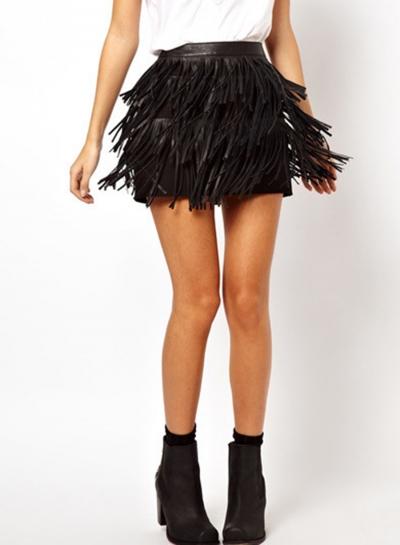 Fashion Tassel Zip Party Skirt