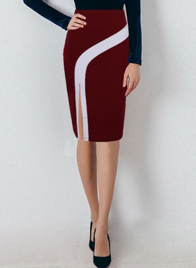 Color Block Slit Plus Size Step skirt