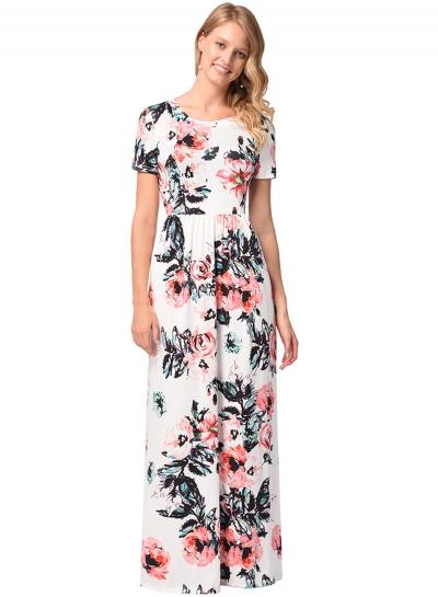Floral Printed Short Sleeve Maxi Dress STYLESIMO.com