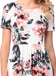 Floral Printed Short Sleeve Maxi Dress