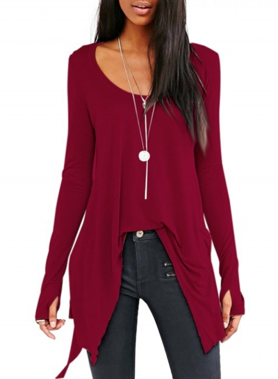 Fashion Scoop Neck Solid Color Long Sleeve Irregular Tees