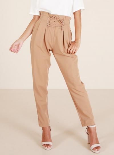 Fashion High Waist Lace up Loose Harem Pants