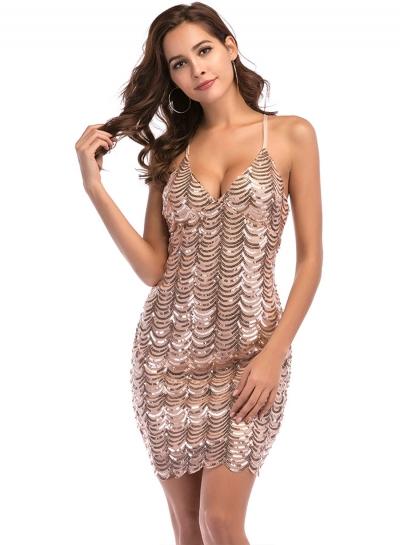 V Neck Sleeveless Sequins Cocktail Dress