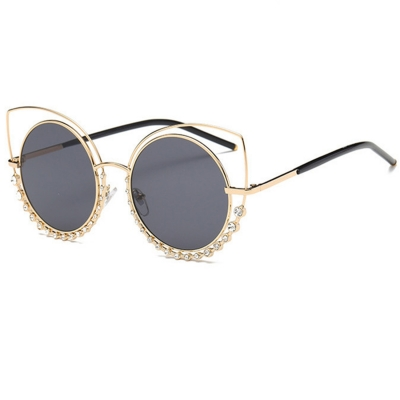 Fashion Cat Eye Round Diamante Casual Sunglasses