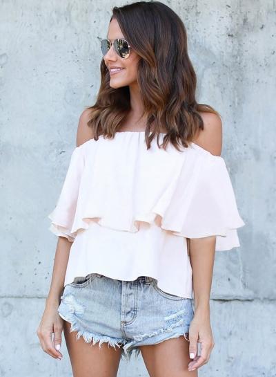 Fashion Strapless Flounce Skinny Blouse