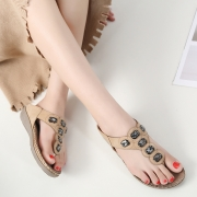 Fashion Gold Bohemia Summer Beach Thong Flat Sandals With Beading