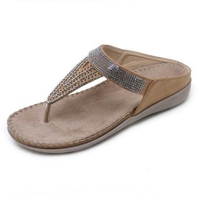 Khaki Bohemia Summer Beach Thong Flat Sandals With Crystal stylesimo.com