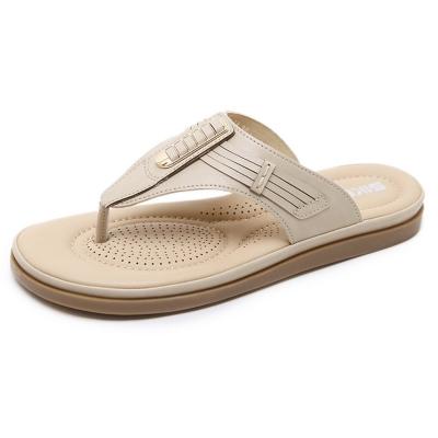 Fashion Apricot Bohemia Summer Beach Thong Flat Sandals stylesimo.com