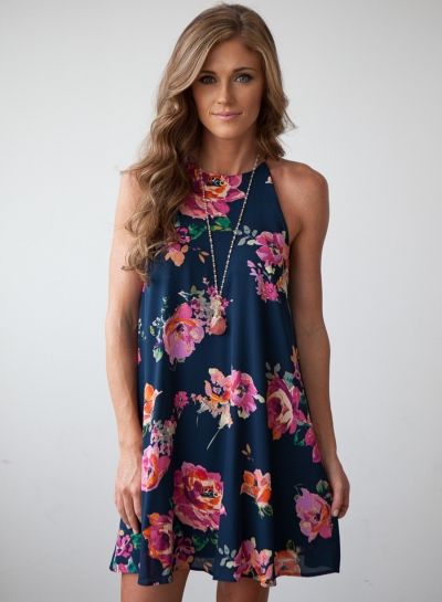 Fashion Chiffon Floral Printed Sleeveless Off The Shoulder Dress