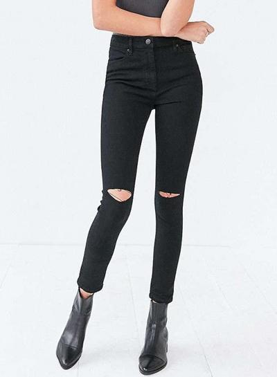 Fashion Slim High Waist Skinny Knee Hole Denim Pencil Pants