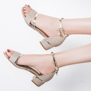Fashion Casual Low Square Heel Cover Heel Round Toe Women Sandals