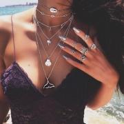 Fashion Silver Lip Coconut Shell Fish Shapes Multi-level Necklace