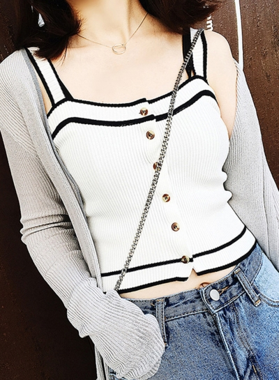 Fashion Strap Sleeveless Slim Cropped Women Short Tank Top With Buttons