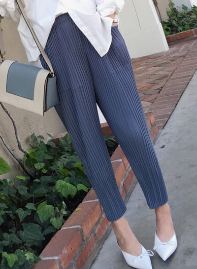 Fashion Casual Loose Solid Women Pleated Pants With Elastic Waist