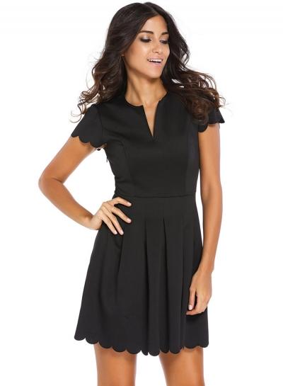 Fashion Sweet Summer Tie Waist Short Sleeve V Neck Pleated Dress