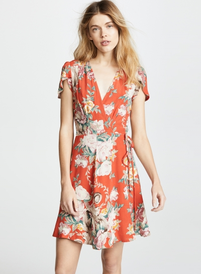 Fashion Floral Printed Lace-up Short Sleeve V Neck A-line Women Midi Dress