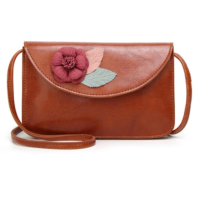 Casual Vintage Leather Cross Body Bag Shoulder Flap With Flower