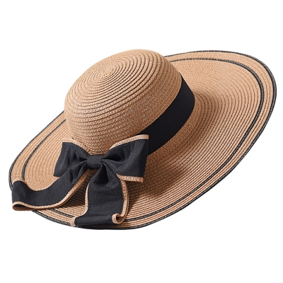 Straw Floppy Foldable Rolled Up Beach Sunscreen Hat With Big Bow
