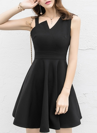 Fashion Solid Irregular Sleeveless High Waist Cocktail Dress