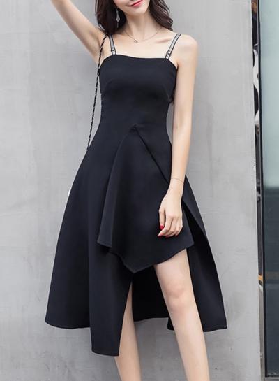 Fashion Solid Irregular Spaghetti Strap Sleeveless Backless Women Dress
