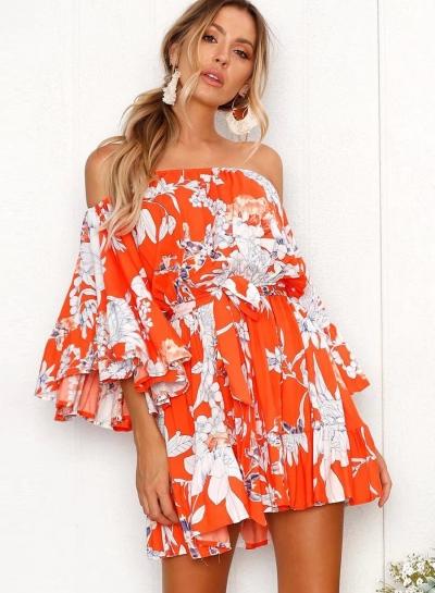 Floral Printed Flare Sleeve Off The Shoulder Slash Neck Mini Dress