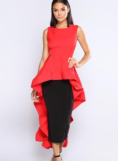 Fashion Slim Solid Irregular Flounced Sleeveless Round Neck Dress