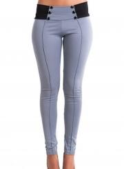 Slender Cotton Splice Pencil Pants