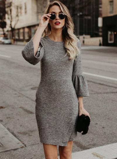 Fashion Irregular Slim Solid Half Flare Sleeve Round Neck Women Dress