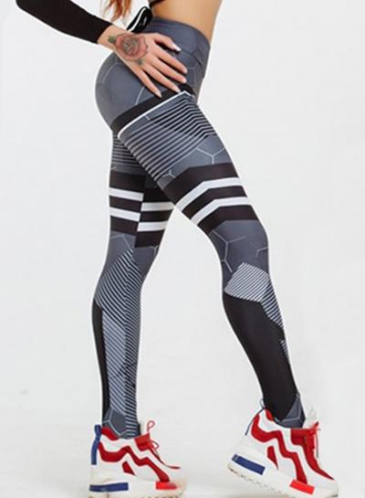 Fashion Sexy Slim Printed Honeycomb pattern High Waist Women Leggings