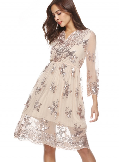 Fashion Lace Mesh Spicing Long Sleeve V Neck Dress With Sequins
