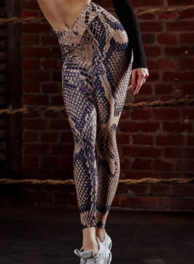 Fashion Sexy Slim Snake Pattern Printed High Waist Sports leggings