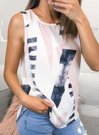 Casual Irregular Printed Sleeveless Round Neck Tank With Zip